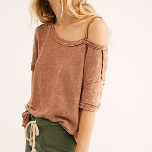 Free People Alex Cold Shoulder Tee in Pink Distres